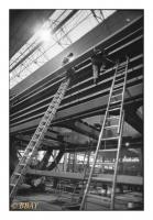 Assemblage des portes d'une écluse à grand gabarit, Ateliers de Braine-le-Comte et Thiriau Réunis, Braine-le-Comte, Belgique, 1986 - argentique