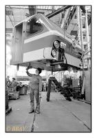 Préparation d'une cabine de locomotive, La Brugeoise et Nivelles, Nivelles, Belgique, 1986 - argentique