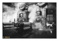Les deux premières cages du train finisseur continu du laminoir à larges bandes à chaud, Carlam, Châtelet, Belgique, 1983 - argentique