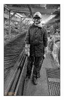 Ouvrier du laminoir à fil, Valfil, Seraing, Belgique, 1984 - argentique