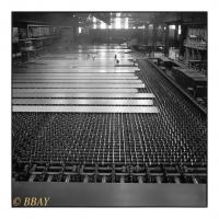 Refroidisseur du laminoir à tôles fortes, Fabrique de Fer de Charleroi (FAFER), Marcinelle, Belgique, 1983 - argentique
