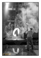Train lamineur Wagner de la forge à bandages et à essieux, Usines Gustave Boël, La Louvière, Belgique, 1984 - argentique