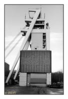 Chevalement pyramidal du puits nord, Bergwerk Ensdorf-Duhamel, Reisbach, Saar, Deutschland, 2007 - argentique