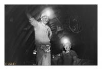 Contremaître et mécanicien de rabot, Charbonnage du Roton, Farciennes, Belgique, 1983 - argentique