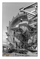 Travaux d'entretien sur la roue à godets d'un Bagger, Tagebau Nochten, Vattenfall, Plateau du Lausitz, Boxberg, Sachsen, Deutschland, 2008 - argentique